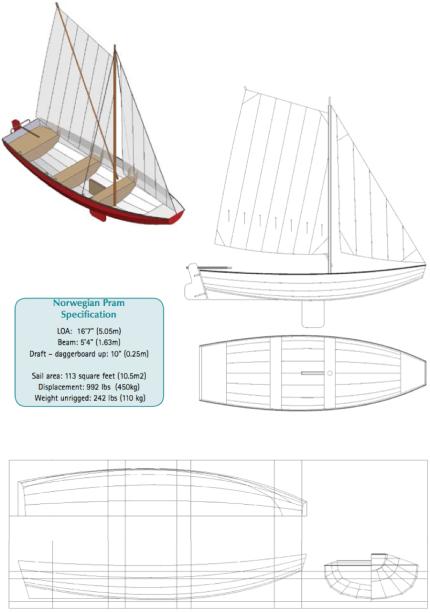17' Norwegian pram boat plans